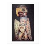 Haida 'Thunderbird' statue (painted wood) Post Card