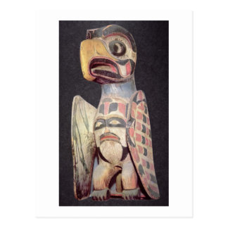 Haida 'Thunderbird' statue (painted wood) Postcard