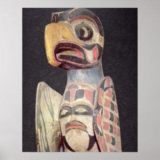 Haida 'Thunderbird' statue (painted wood) Poster