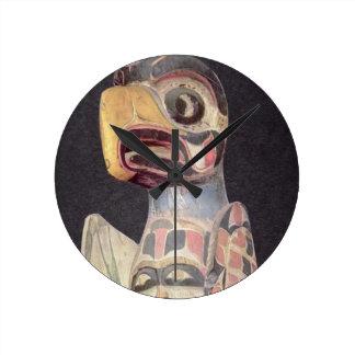 Haida 'Thunderbird' statue (painted wood) Round Clock