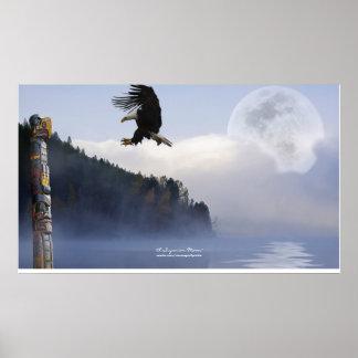 Haida Totem, Eagle & Super Moon Art Poster