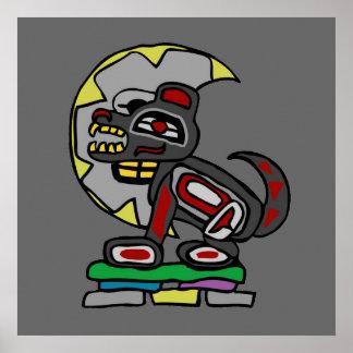 Haida Wolf and Moon Poster