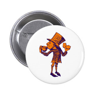 Haigha (Mad Hatter) Inked Purple Orange Button
