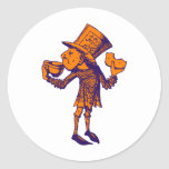 Haigha (Mad Hatter) Inked Purple Orange Round Stickers