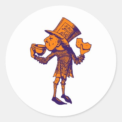 Haigha (Mad Hatter) Inked Purple Orange Classic Round Sticker