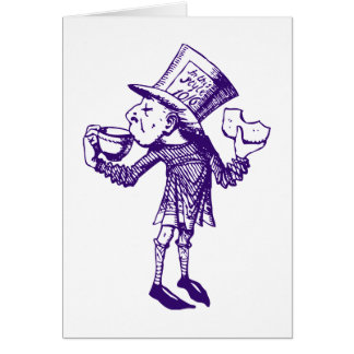 Haigha (sombrerero enojado) entintó púrpura tarjeta de felicitación