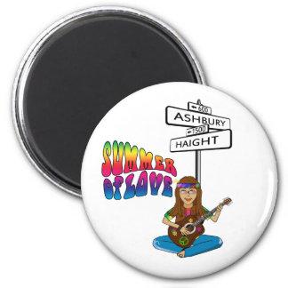 Haight Ashbury Summer of Love 2 Inch Round Magnet