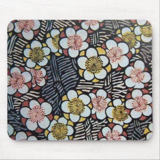 HAIKU/ BLACK WHITE PINK SPRING FLOWERS MOUSE PAD