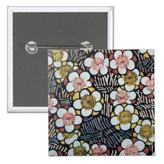 HAIKU/ BLACK WHITE PINK YELLOW SPRING FLOWERS BUTTON