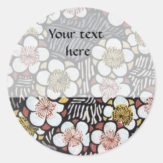 HAIKU/ BLACK WHITE PINK YELLOW SPRING FLOWERS CLASSIC ROUND STICKER