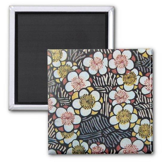 HAIKU/ BLACK WHITE PINK YELLOW SPRING FLOWERS MAGNET