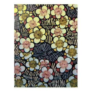 HAIKU/ BLACK WHITE PINK YELLOW SPRING FLOWERS POSTCARD