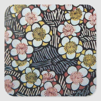 HAIKU/ BLACK WHITE PINK YELLOW SPRING FLOWERS SQUARE STICKER