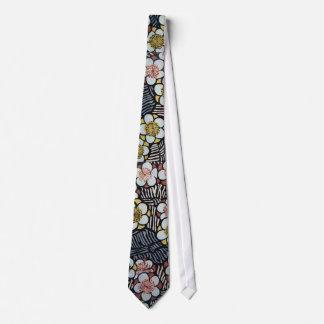HAIKU/ BLACK WHITE PINK YELLOW SPRING FLOWERS TIE