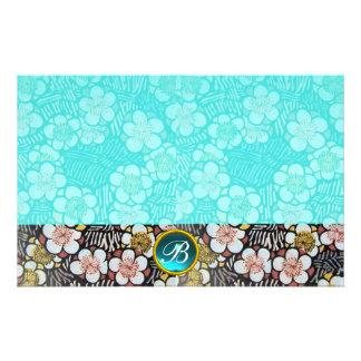 HAIKU/BLACK WHITE SPRING FLOWERS BLUE GEM MONOGRAM STATIONERY