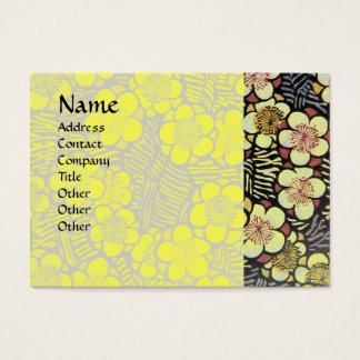 HAIKU / BLACK WHITE YELLOW SPRING FLOWERS BUSINESS CARD