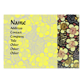 HAIKU / BLACK WHITE YELLOW SPRING FLOWERS LARGE BUSINESS CARD