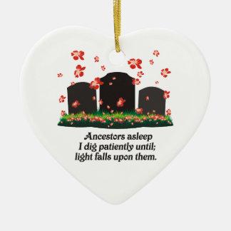 Haiku de la genealogía adorno navideño de cerámica en forma de corazón