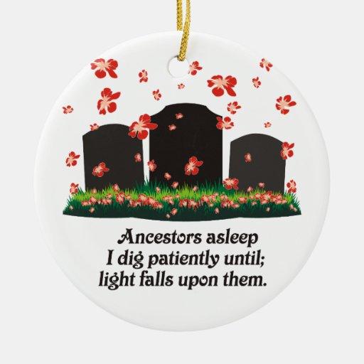 Haiku de la genealogía adorno navideño redondo de cerámica