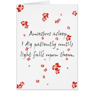 Haiku de la genealogía tarjeta de felicitación