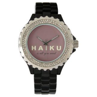 Haiku Is All We Need Black Enamel Watch
