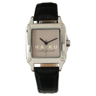 Haiku Is All We Need Black Leather Strap Watch