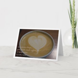 Haiku Latte Heart Coffee Lover Personalize Blank Card