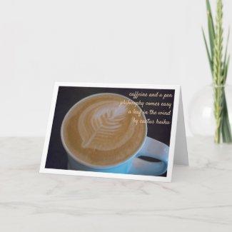 Haiku Latte Leaf Coffee Lover Personalizable Blank Card
