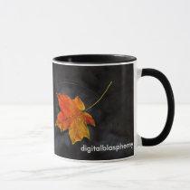 autumn, leaf, creek, pond, ripple, fall, haiku, desktop wallpaper, Mug with custom graphic design