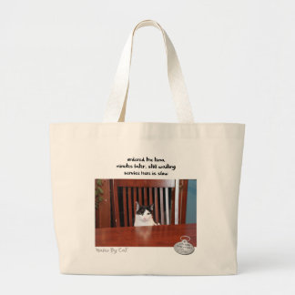 Haiku por Cat™: El esperar Bolsa Tela Grande