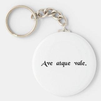 Hail and farewell. basic round button keychain