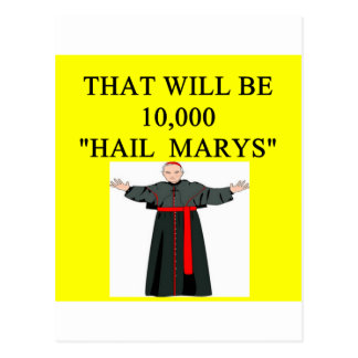 hail mary catholi onfession joke postcard