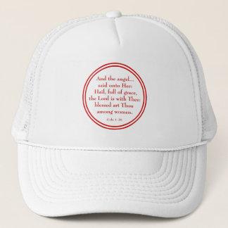 "Hail Mary ""Luke 1:28"" Trucker Hat"