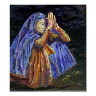 Hail Mary Rosary painting Poster