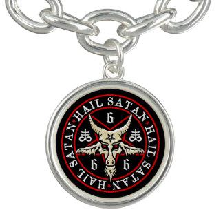 Hail Satan Baphomet Goat in Pentagram Charm Bracelets