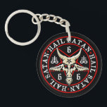 "Hail Satan Baphomet Goat in Pentagram Keychain<br><div class=""desc"">This design shows a Goat of Mendes baphomet head, with blood red eyes and a pentacle on it&#39;s forehead, placed on an occult inverted pentagram. Around the head are a pair of satanic crosses and the numbers 666 - often referred to as &quot;the number of the beast&quot;. The whole design...</div>"
