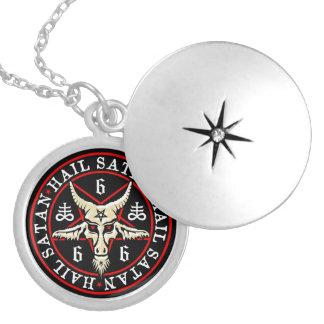 Hail Satan Baphomet Goat in Pentagram Round Locket Necklace