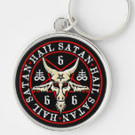 Hail Satan Baphomet Goat in Pentagram Silver-Colored Round Keychain