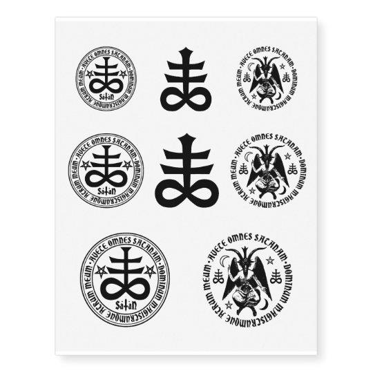 Hail Satan Baphomet Satanic Cross Black Satanic Temporary Tattoos