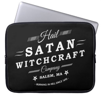 Hail Satan Witchcraft Co Salem MA Vintage Logo Computer Sleeve