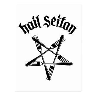 Hail Seitan 1.2 (black) Postcard