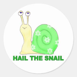 Hail the snail classic round sticker