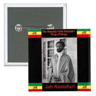 Haile Selassie el león de Judah, Jah Rastafari Pin Cuadrado
