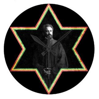 Haile Selassie Star of David Large Clock