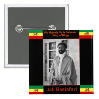 Haile Selassie the Lion of Judah, Jah Rastafari 2 Inch Square Button