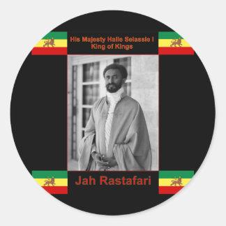 Haile Selassie the Lion of Judah, Jah Rastafari Round Stickers