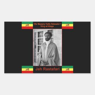 Haile Selassie the Lion of Judah, Jah Rastafari Rectangular Stickers