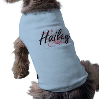 Hailey Artistic Name Design with Flowers Pet T Shirt