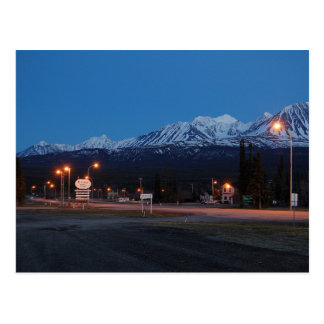 Haines Junction in Canada to the blue hour Postcard