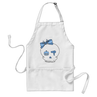 Hair Accessory Skull (Bow Detail - Blue) Adult Apron